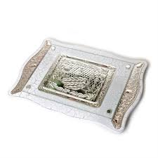 challah plates buy challah board made of white wood glass and silver plate