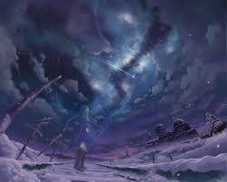 winter anime wallpaper hd stars night snow shooting stars winter anime girls wallpapers
