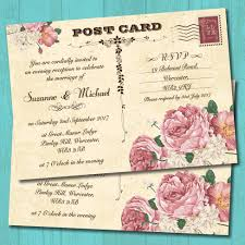 vintage postcard pink roses evening wedding invitation elisa by