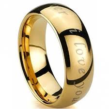 engraved rings gold images Engraved with i love you gold tungsten carbide wedding engagement jpg