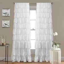 Sheer Ruffled Curtains 96 Shabby Chic Semi Sheer Ruffled Window Curtain