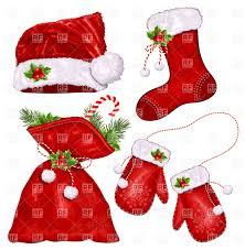 christmas symbols santa u0027s hat mittens sack and xmas sock