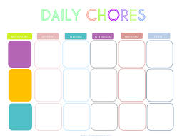 lunch box planner template printable charts for chores daily chore charts chore list and