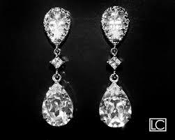 Sparkly Chandelier Earrings Bridal Crystal Cz Earrings Clear Crystal Teardrop Earrings