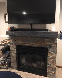 rugged gray satin wooden mantelhollow fireplace mantel