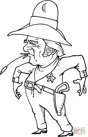 cowboy sheriff with wheat in mouth coloring page free printable