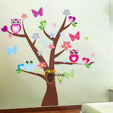 free shipping large butterflies and owl wall decal family