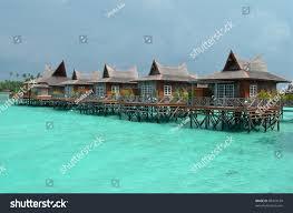 water bungalows mabul island borneo malaysia stock photo 89424169