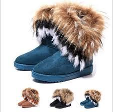 womens ugg boots fox fur winter warm high ankle boots faux fox rabbit fur