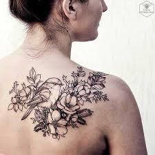 28 black flower shoulder tattoos styles 2017