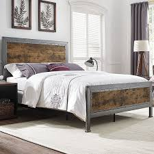 Brown Wood Bed Frame Bed Industrial Brown Wood And Metal Free Shipping Today