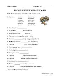 learning number words in spanish 1st 7th grade worksheet
