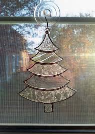 tree ornament stained glass tree suncatcher clear