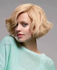 short curly bob with long side bangs
