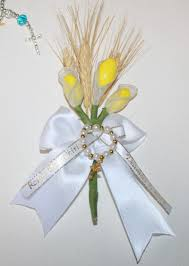 communion favors calla confetti flower communion favors with wheat and rosary
