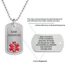 titanium dog tag necklace images Pure titanium medical alert id dog tag jpg