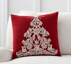 embroidered christmas christmas tree embroidered pillow cover pottery barn