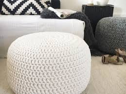 large crochet round pouf ottoman nursery foot stool pouf