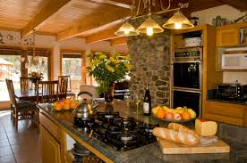cool large open kitchen with rectangle shape wooden kitchen island captivating large open