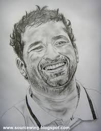 sourcewing sachin tendulkar pencil drawing double hundred in