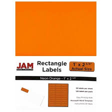 jam paper mailing address labels 1 x 2 58 neon orange pack of 120