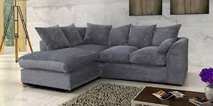 jumbo cord corner sofa in grey or brown a footstool or 2 3 seater