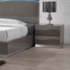 delhi contemporary nightstand glossy gray 2 drawers dcg stores