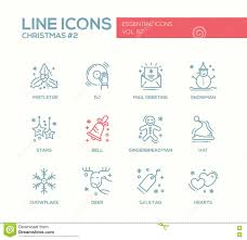 christmas and new year simple line design icons set stock vector