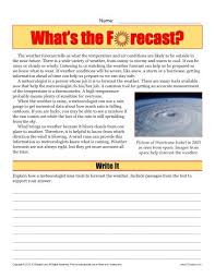 sixth grade reading comprehension worksheet what u0027s the forecast