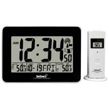 Digital Atomic Desk Clock Skyscan Atomic Digital Clock With Indoor And Outdoor Temperature