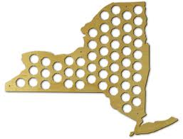 State Of New York Map by Amazon Com Beer Cap Trap New York Beer Cap Map Wall Art Kitchen