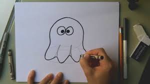 how to draw a cute ghost for halloween easy cartoon ghost