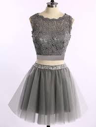 2 pieces homecoming dresses grey homecoming dress lace