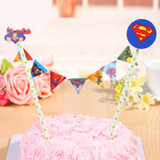 banner cake topper straw string banner happy birthday superman cake topper boy