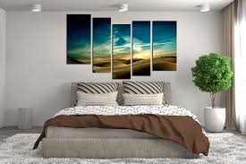 Green Bedroom Wall Art 5 Piece Multi Panel Art Landscape Canvas Photography Green