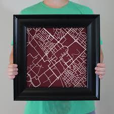 Tamu Campus Map Texas A U0026m University Campus Map Art City Prints