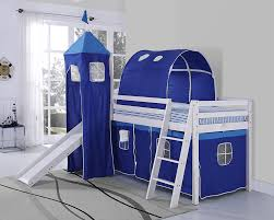 Tent Cabin by Kids Bunk Bed Blue Tent Mid Sleeper With Slide And Ladder White
