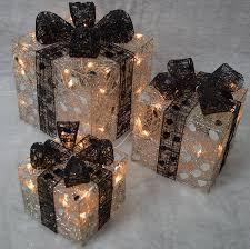 3 lit silver parcels black bows premier decorations