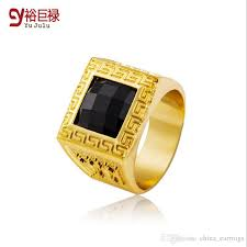 gold ring for men 2017 18k real gold rings bling ring men gift hip hop rings
