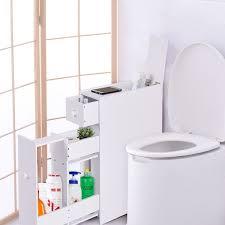 Bathroom Shelves And Cabinets Costway Narrow Wood Floor Bathroom Storage Cabinet Holder
