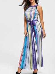 rainbow color striped maxi dress in colorful xl sammydress com