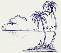 sketch of an island with palm trees and clouds in distance stock