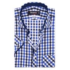 blue multi check half sleeve designer shirt