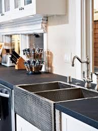 countertops transitional kitchen black slab countertop copper