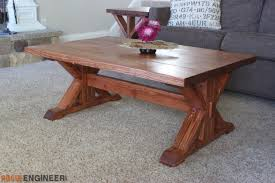 Woodworking Making A Coffee Table by Trestle Coffee Table Free Diy Plans Rogue Engineer