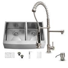 shop vigo 36 0 in x 22 25 in premium satin double basin stainless