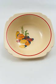 homer laughlin vintage riviera pottery berry bowl with mexicana decals and stripes for