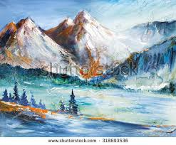 Mountain Landscape Paintings by Snowcapped Mountains Valley Mountain Landscape Painting Stock