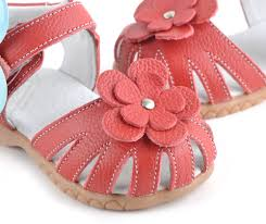 baby sandals soft leather red with closed toe girls sandals