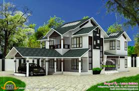 slant roof modern sloping roof house kerala home design floor plans